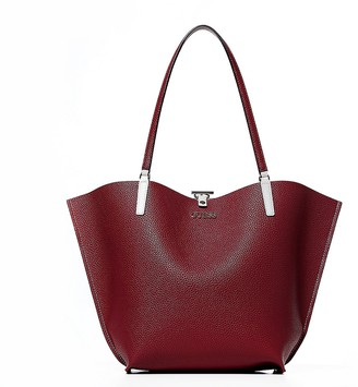 GUESS Stone/Claret Alby Reversible Tote Bag