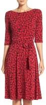 Leota Women's Reversible Belted Geometric Print Jersey A-Line Dress