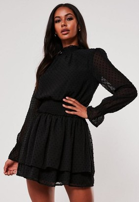Missguided Black Dobby High Neck Shirred Waist Dress