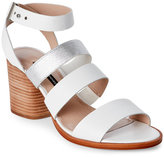 French Connection Summer White & Silver Ciara Open Toe Block Heel Sandals