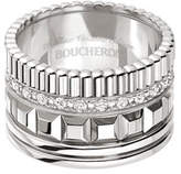 Boucheron Quatre 18K White Gold Ring with Diamonds, Size 53