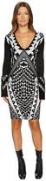 Just Cavalli Tribal Knit Long Sleeve Dress Women's Dress