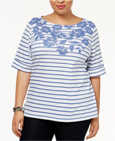 Karen Scott Plus Size Striped Floral-Print Top, Only at Macy's