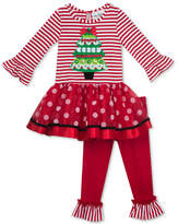 Rare Editions 2-Pc. Striped Christmas Holiday Tutu Tunic and Leggings Set, Toddler Girls (2T-5T)