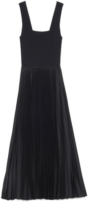Theory Pleated Square Neck Midi Dress
