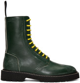 Maison Margiela Green Leather Distressed Boots