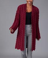 Milan Kiss Women's Cardigans BURGUNDY - Burgundy Textured-Knit Wool-Blend Open Cardigan - Women