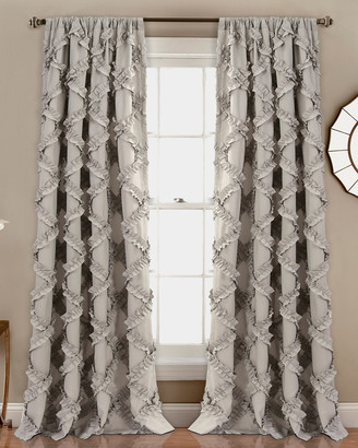 Triangle Home Fashion Ruffle Diamond Window Curtain Gray Set