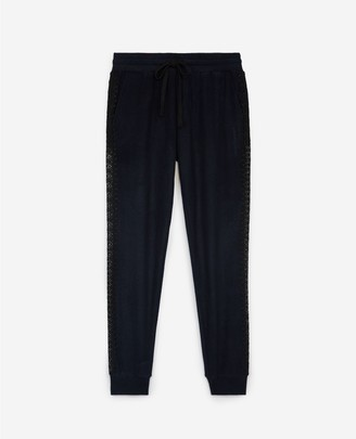 The Kooples Blue fleece joggers with lace details