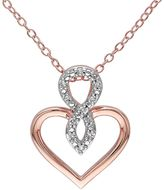 Diamond Accent Pink Rhodium-Plated Sterling Silver Infinity Heart Pendant