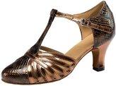 TDA Women's Fashion Comfort T-strap Closed Toe Snakeskin Leather Salsa Tango Ballroom Latin Modern Dance Wedding Shoes