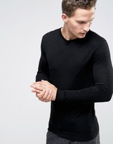 Selected Knitted Crew Neck Sweater In Merino Wool