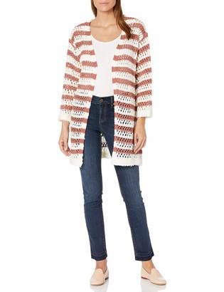 Moon River Women's Knit Striped Open Front Long Cardigan