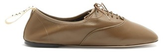 Loewe Logo-tab Leather Oxford Shoes - Green