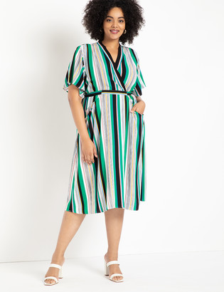 ELOQUII Flare Sleeve Surplice Dress