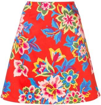 Carolina Herrera Digital Flowers Mini Skirt