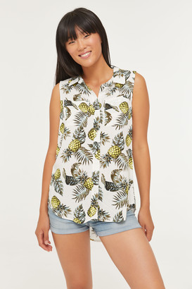 Ardene Button Front Sleeveless Printed Top