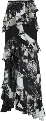 Roberto Cavalli Ruffled Printed Silk Crepe De Chine Skirt