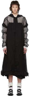 Renli Su Black Silk Sheer Hooded Coat