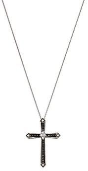 Bloomingdale's Black and White Diamond Cross Pendant Necklace in 14K White Gold, 0.50 ct. t.w, 18 - 100% Exclusive