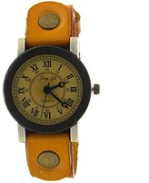 CLW Girls women Vintage Rusty Studs Cow Leather Strap Yellow Band Quartz Watch