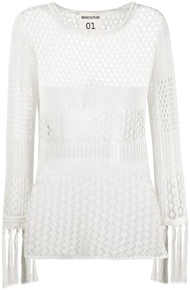 Semi-Couture Crochet Knit Top