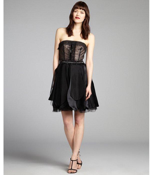 Vera Wang black silk chiffon and lace bead embellished strapless dress