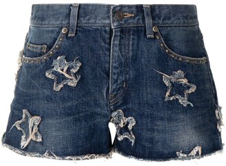 Yves Saint Laurent Pre-Owned Star Patch Denim Shorts