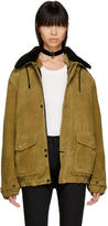 Saint Laurent Tan Oversized Suede Shearling Jacket