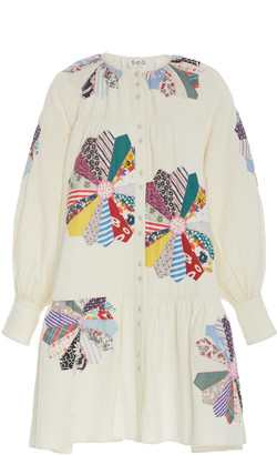 Sea Paloma Patchwork Floral-Embroidered Cotton Dress