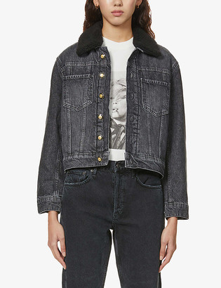 Maje Biche faux-fur collar denim jacket