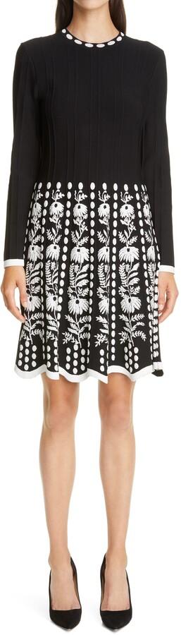Lela Rose Floral Jacquard Long Sleeve Fit & Flare Sweater Dress