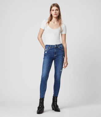 AllSaints Dax High-Rise Superstretch Shaping Skinny Jeans, Mid Indigo Blue
