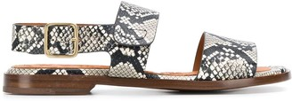 Chie Mihara Open Toe Snakeskin Print Sandals