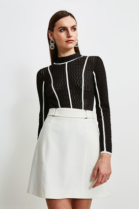 Karen Millen Tipped Pointelle Knit Jumper