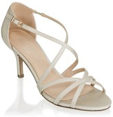 Paradox London Lydia Champagne Mid Heel Ankle Strap Sandals