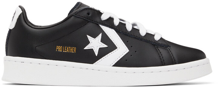 Thumbnail for your product : Converse Black & White Pro Leather OX Sneakers