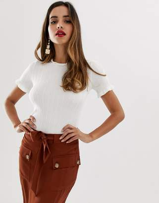 Lipsy knitted tee in white