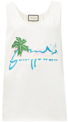 Gucci Hawaii-print Cotton-jersey Tank Top - White Print