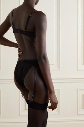 Coco de Mer Seraphine Silk-blend Satin And Lace Underwired Plunge Bra - Black