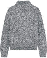Vince Cable-knit Wool-blend Turtleneck Sweater - Light gray