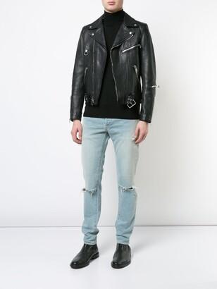 Balmain slim fit ripped jeans light blue
