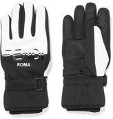 Fendi Two-tone Shell Ski Gloves - Black