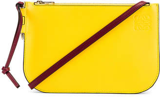 Loewe Gate Double Zip Pouch in Wine & Yellow | FWRD