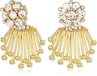 Badgley Mischka Womens Crystal Front-Back Drop Earrings