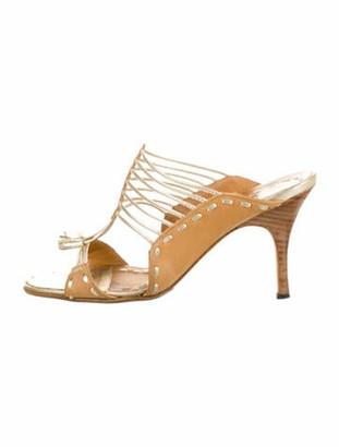 Manolo Blahnik Leather Slides Gold