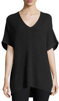 Vince Ribbed-Knit V-Neck Tunic Sweater, Heather Carbon