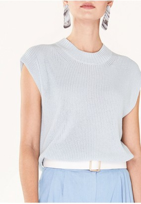 Paisie Sleeveless Top with Wide Ribs and High Neck in Light Blue