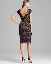 ABS by Allen Schwartz Cap Sleeve Stretch Lace Sheath Dress