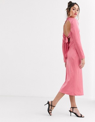 C/Meo sqaure neck satin midi dress in pink